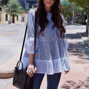 Tops - Eyelet striped dolly top